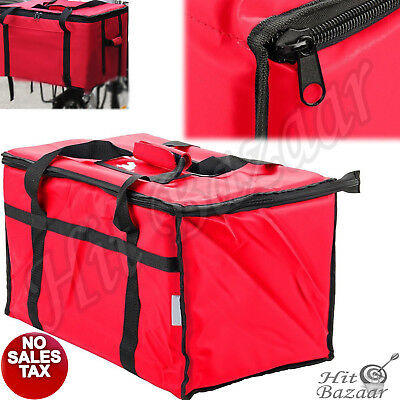 INSULATED FOOD DELIVERY Bag Pan Carrier Zippered Thermal Travel Carry Warmer Red