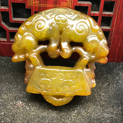Old Chinese Neolithic xiuyu jade Hand carved Amulet Pendant   552124