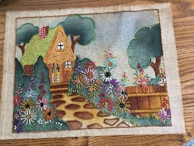 Vintage Embroidery Needlepoint 12 X16 Cottage With Flowers