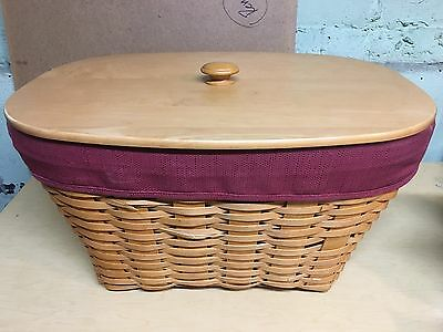 Longaberger Large Oval Laundry Basket, Liner, Protector and lid