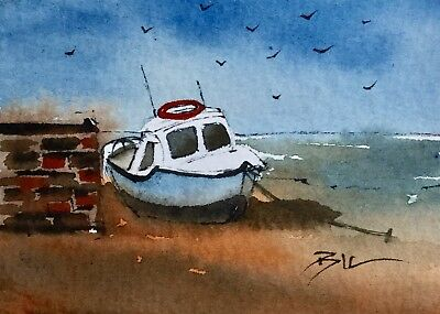 ACEO Original Art Watercolour Painting by Bill Lupton - Resting on the Beach