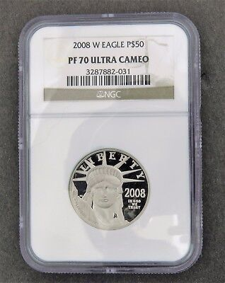 2008 W $50 1/2 Oz 9995 PLATINUM American EAGLE Proof Coin NGC PF70 ULTRA CAMEO