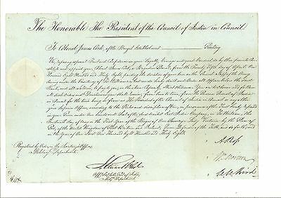MS2896 1838 EAST INDIA Co. MILITARY *Brigadier General* COMMISSION DOCUMENT Rare