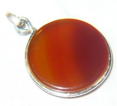 Solid Silver Pocket watch chain Fob Pendant AGATE c1900