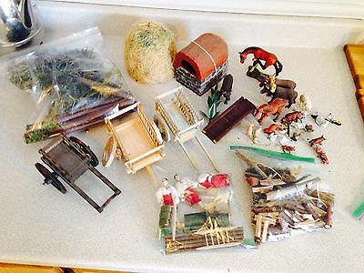Large Lot Of Hand Crafted Farm Diorama Stuff And Figurines