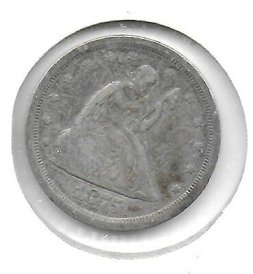 US 1875-S Liberty Seated 20 Cents Silver Coin Toned Fine