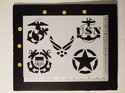 "Army Air Force Navy Marines Coast Guard Military 11 x 8.5"" Stencil FREE SHIPPING"