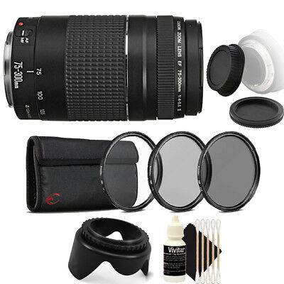 Canon EF 75-300mm f/4-5.6 III Lens + UV CPL Filter Kit for Canon T6i T6 T6S