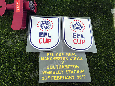 2x EFL Cup 16-17 Soccer Sleeve Patch Final Detail Manchester United 3-Piece Set