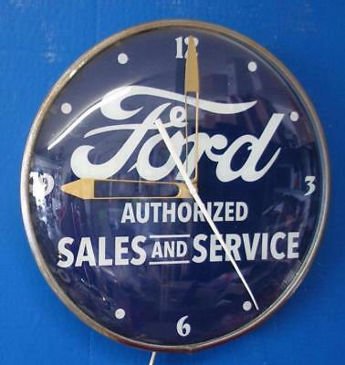 Vintage Pam Lighted FORD AUTHORIZED SALES & SERVICE Advertising Clock