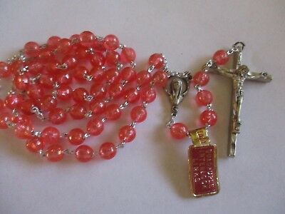 Vintage Catholic Pink Rosary New With Tags Mary Religious Medal  Lot # C