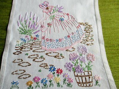 VINTAGE TABLE RUNNER - HAND EMBROIDERED with CRINOLINE LADIES