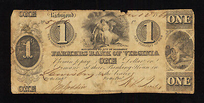 1861 $1 Farmers Bank of Virginia Note - Richmond Civil War Era