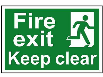 FIRE EXIT KEEP CLEAR PVC SELF ADHESIVE SAFETY SIGN 300 x 200  1513 - NEW