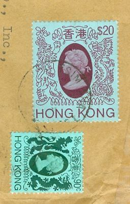 Hong Kong $20 + 90c used on Registered cover to USA  gtc