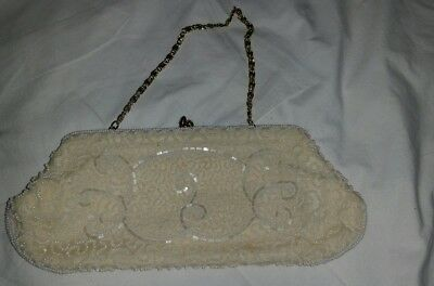 VINTAGE ALL HAND BEADED MADE IN BELGIUM Cream/GOLD CLUTCH EVENING BAG