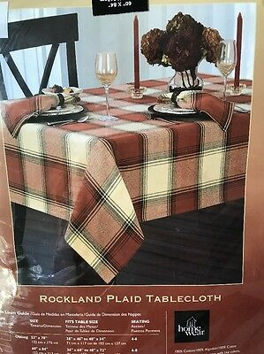 Rockland Plaid by Homewear Harvest Collection Tablecloth + 4 Placemats NEW