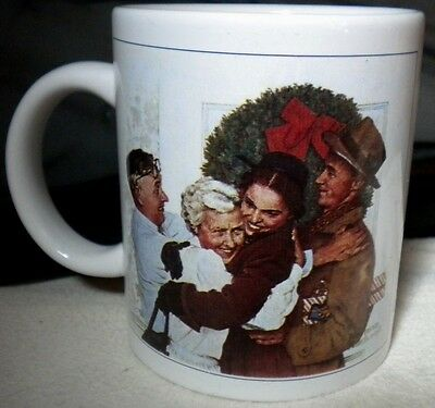 "Norman Rockwell ""Home For Christmas"" Coffee Cup Decorative Mug Holidays Family"