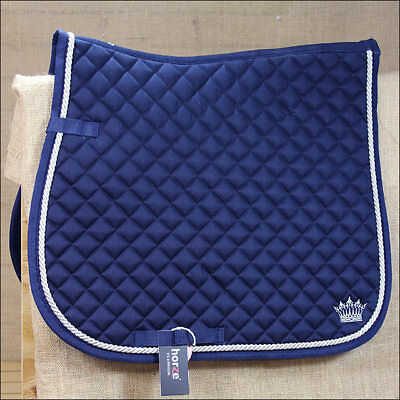 Horze Silver Cord All Purpose Horse Cotton Saddle Pad Full Size Dark Blue