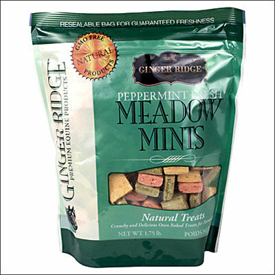 GINGER RIDGE HORSE PONIES CRUNCHY BISCUITS TREATS MEADOW MINTS 1.75 lbs