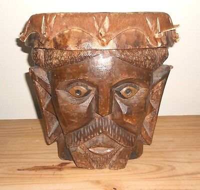 """African Drum Tribal Art Wood, Hand Carved Mid 60S  Approx 13"""" High X 13"""" Diam."""