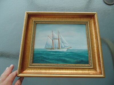 VINTAGE Robert Lee Perry SAIL BOAT SHIP NAUTICAL MA Massachusetts OIL PAINTING