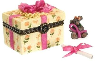 """BOYDS BEARS BOX """"DAWNS GIFT HOPE w/ FAITH McNIBBLE"""" PINK RIBBON LE FREE SHIPPING"""