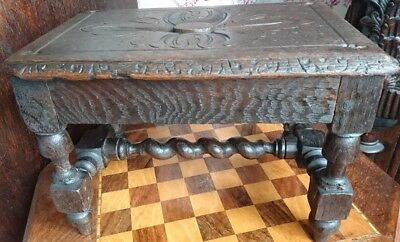 Antique 19 Th Century Oak Miniture Farmhouse Stool