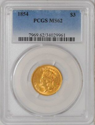 1854 $3 Gold Indian MS62 PCGS