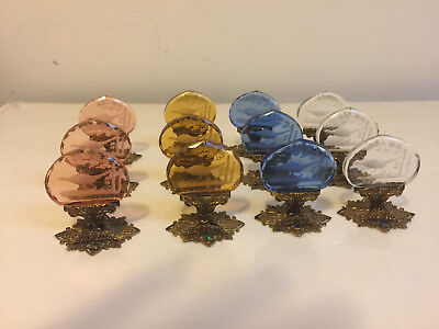 12 Antique Jeweled Czech Intaglio Glass Place Card Holders