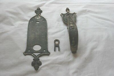 VIntage Ornate Brass Door Pull Handle and Plate Great Looking Piece