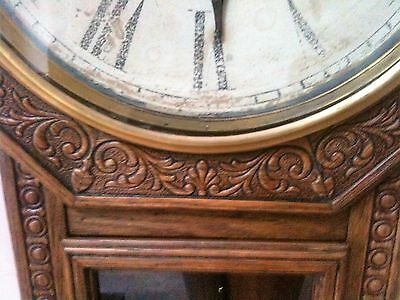 Large Carved Oak station/schoolhouse clock