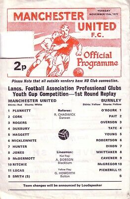 MANCHESTER UNITED v BURNLEY 1977/78 LANCS YOUTH CUP