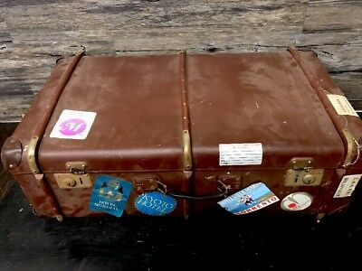 Rare Vintage Antique Luggage Suitcase Large Echt