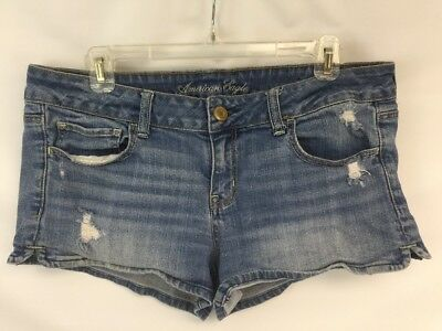 American Eagle Mini Short Shorts Women Size 12 Distressed Stretch Blue Jean