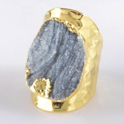 Defective Scratched Size 6 Rough Natural Galaxy Quartz Ring Gold Plated H98152