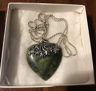 Antique Ireland Sterling Silver Jade Heart Sterling Clover Leaves & Chain