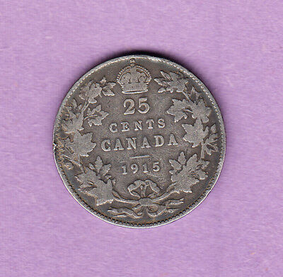 Canada 25 Cents 1915 Key Date Silver Coin - George V