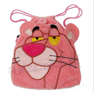 Pink Panther Plush Drawstring Bag - Cosmetic & camera pouch useful