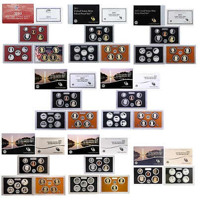 2010-2017 S Proof Set Run Box & COA 90% Silver US Mint 8 Sets 107 Coins