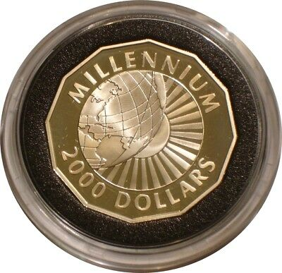 1999 - 2000 Silver $2000 of Guyana MILLENIUM Proof with COA