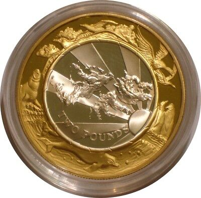1999 - 2000 Silver & Gold two pounds of Falkland Islands MILLENIUM Proof w/ COA