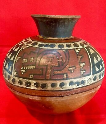 Large Pre Columbian Terracotta Nazca Or Wari Vessel With Jaguar Motif, artifact