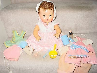 """Vintage Tiny Tears American Character Rooted Hair 16"""" Doll With Bubble Pipe & Mo"""