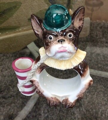 Rare Antique French Bulldog Napkin Ring Toothpick Name Card Holder Germany XLNT
