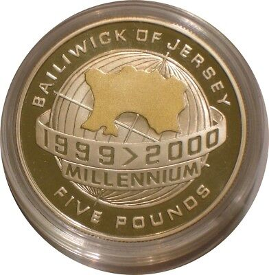 1999 - 2000 Silver & Gold five pounds of Jersey MILLENNIUM Proof w/ COA