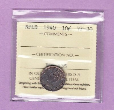 1940 Newfoundland 10 Cents Silver Coin ICCS Graded - Beautiful Toning!!