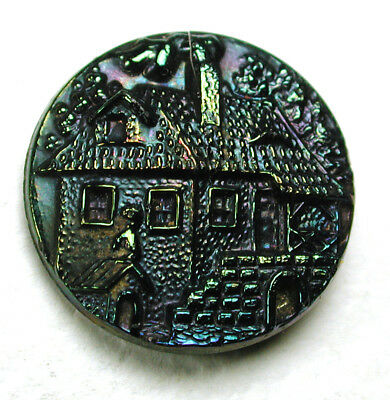 """Antique Black Glass Button Detailed Cottage & Doghouse w/ Carnival Luster 11/16"""""""