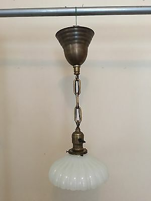 "17"" Brass Pendant Light Fixture With Heavy Antique Globe Newly Wired Hubbell"