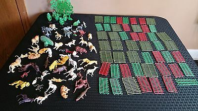 Lot Of Vintage Plastic Exotic Animal Figurines Lions Rhino Trees Fence Pieces